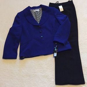 Blue Blazer and black slacks